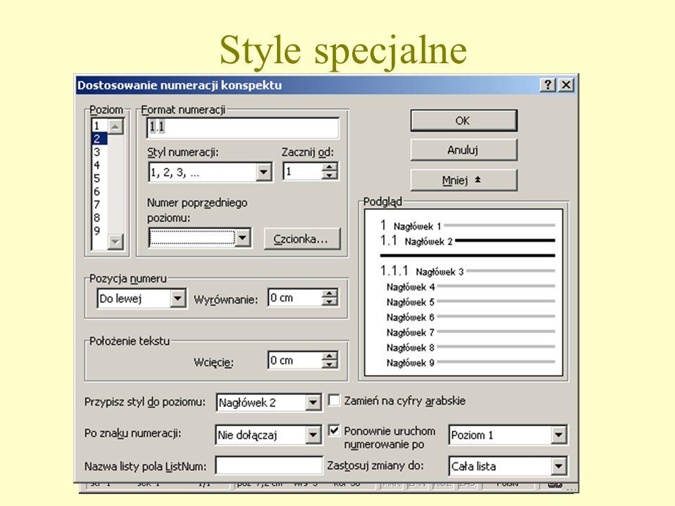 Style specjalne