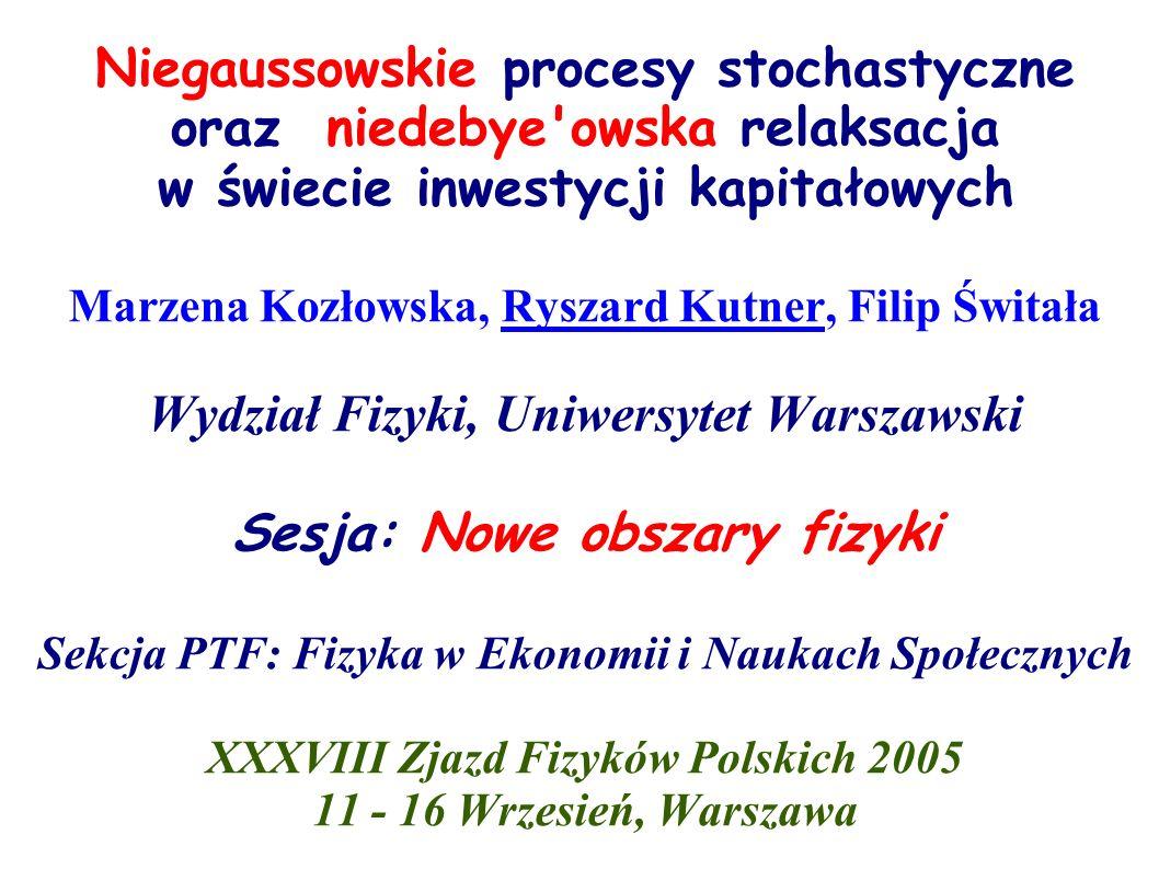 Warszawska Giełda Papierów Wartościowych R.Kutner, F.Świtała: Quantitative Finance 3 (2003)