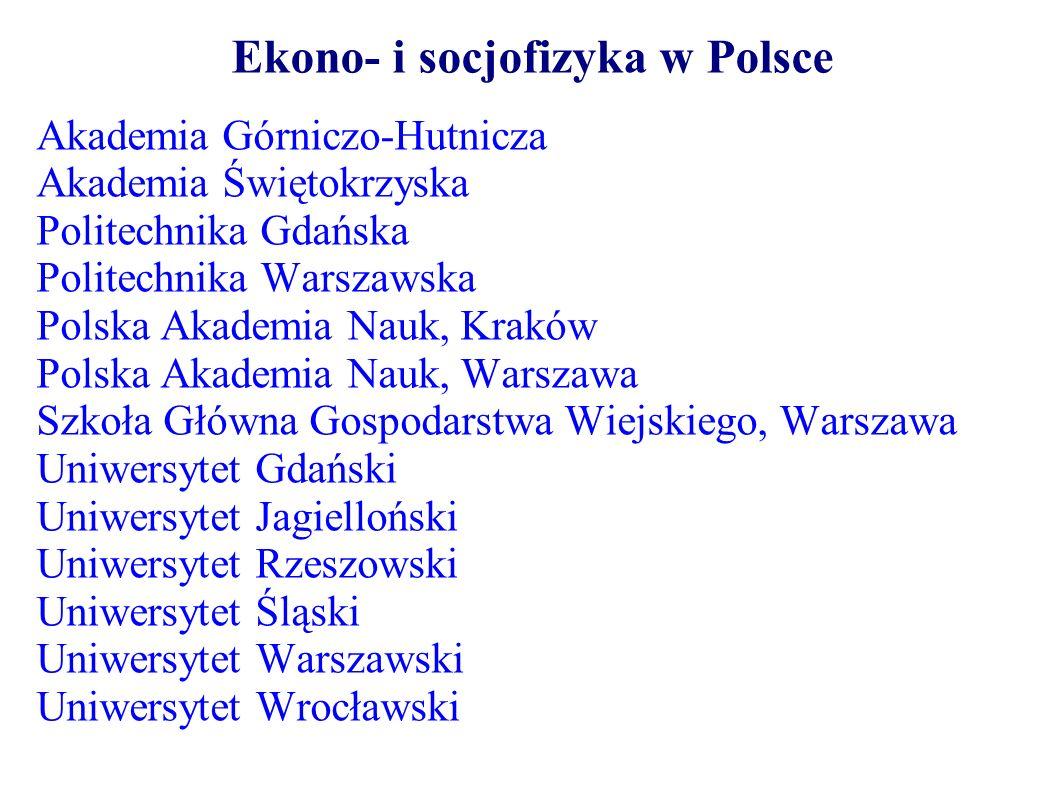 Ekono- i socjofizyka w Polsce Akademia Górniczo-Hutnicza Akademia Świętokrzyska Politechnika Gdańska Politechnika Warszawska Polska Akademia Nauk, Kra