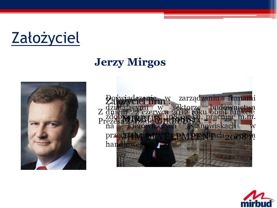 Założyciel Jerzy Mirgos Doświadczenie w zarządzaniu firmami działającymi w sektorze budownictwa zdobywał już od 1985 roku, pracując m.in. na kierownic