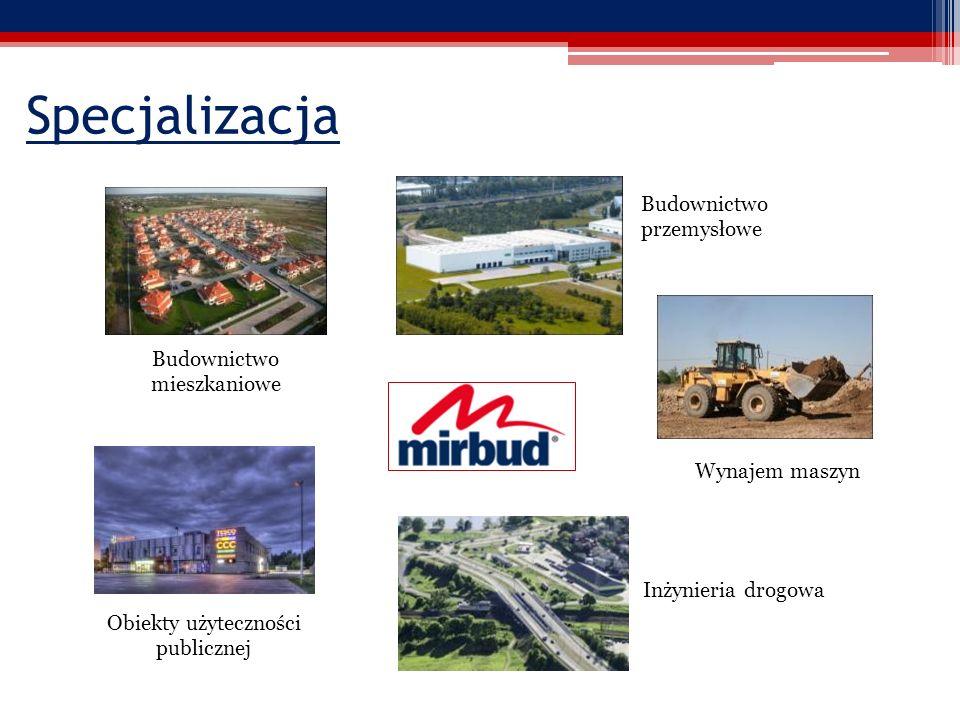 Specjalizacja Budownictwo przemysłowe Obiekty użyteczności publicznej Budownictwo mieszkaniowe Wynajem maszyn Inżynieria drogowa
