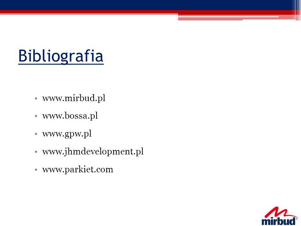 Bibliografia www.mirbud.pl www.bossa.pl www.gpw.pl www.jhmdevelopment.pl www.parkiet.com