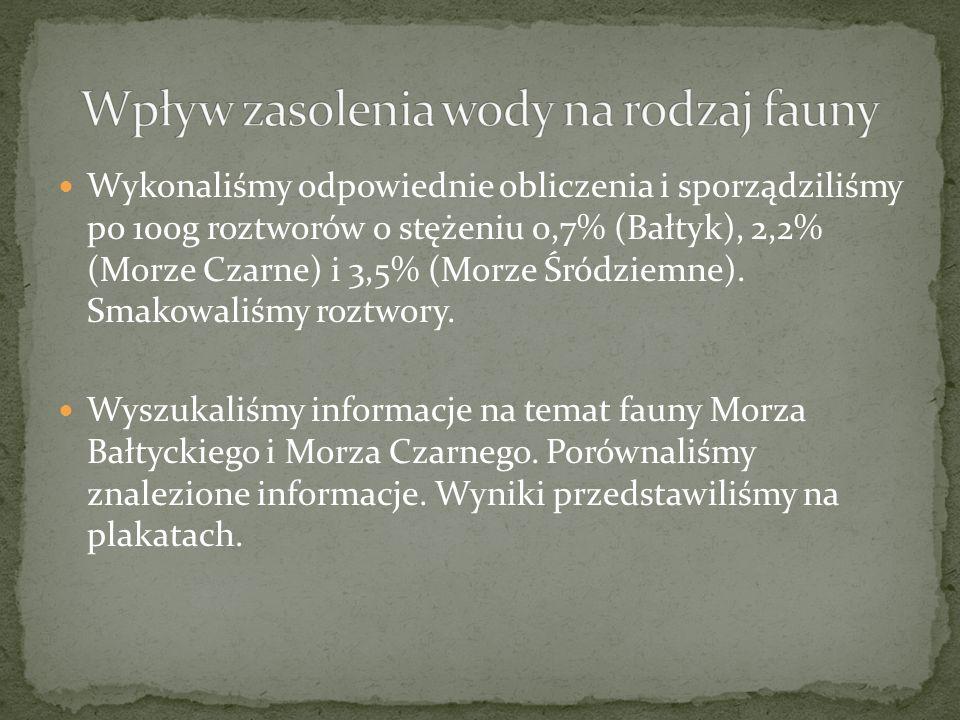 Wykonaliśmy odpowiednie obliczenia i sporządziliśmy po 100g roztworów o stężeniu 0,7% (Bałtyk), 2,2% (Morze Czarne) i 3,5% (Morze Śródziemne). Smakowa