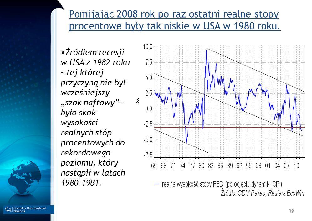 39 Pomijając 2008 rok po raz ostatni realne stopy procentowe były tak niskie w USA w 1980 roku. Źródłem recesji w USA z 1982 roku – tej której przyczy