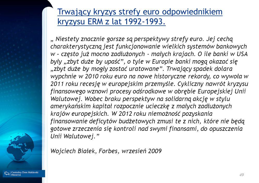 49 Trwający kryzys strefy euro odpowiednikiem kryzysu ERM z lat 1992-1993. Niestety znacznie gorsze są perspektywy strefy euro. Jej cechą charakteryst