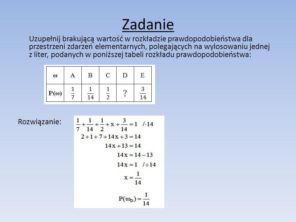 Zadanie Uzupełnij brakującą wartość w rozkładzie prawdopodobieństwa dla przestrzeni zdarzeń elementarnych, polegających na wylosowaniu jednej z liter,