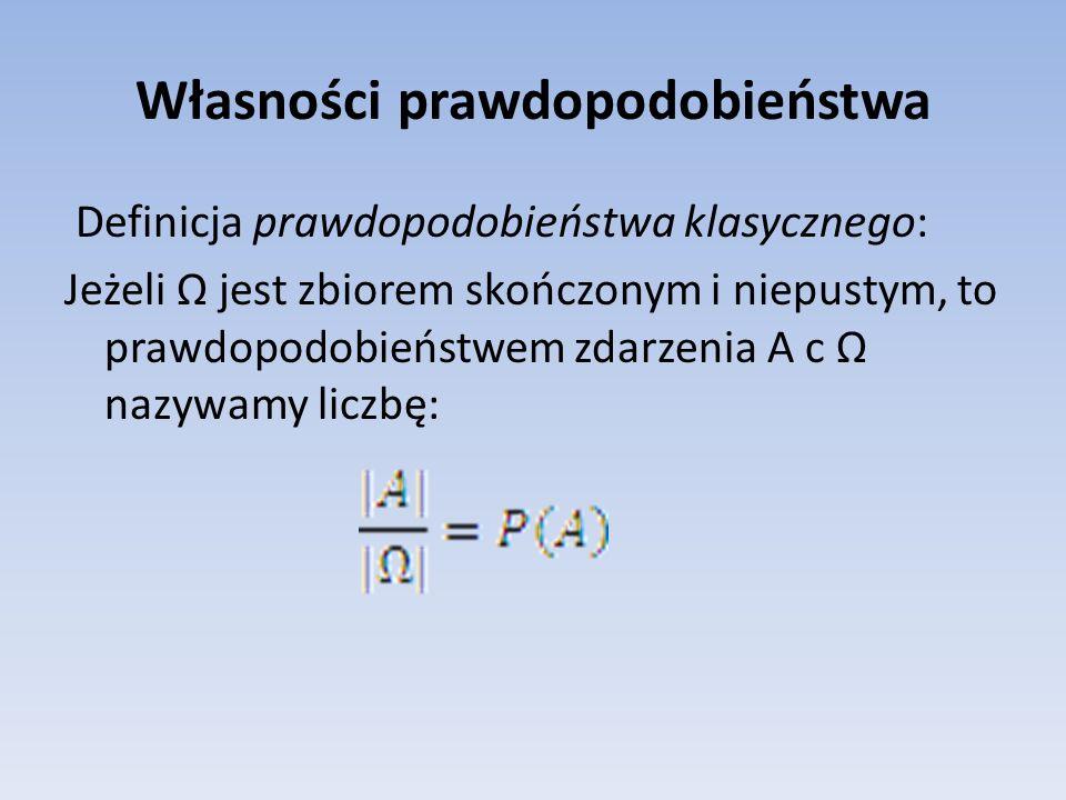 Własności prawdopodobieństwa Definicja prawdopodobieństwa klasycznego: Jeżeli jest zbiorem skończonym i niepustym, to prawdopodobieństwem zdarzenia A