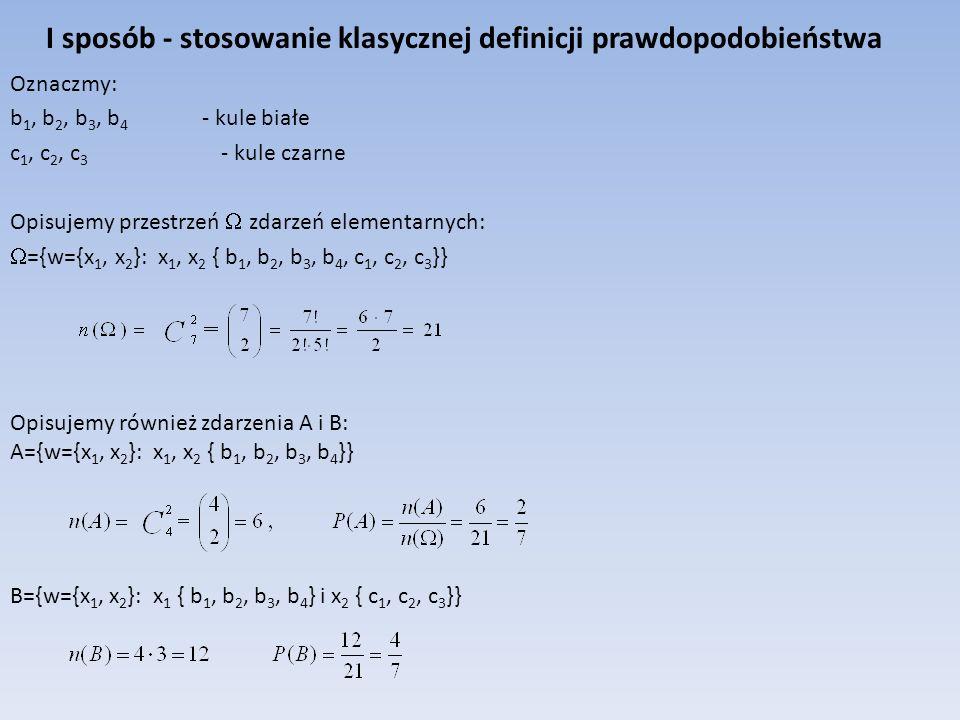 Opisujemy również zdarzenia A i B: A={w={x 1, x 2 }: x 1, x 2 { b 1, b 2, b 3, b 4 }} I sposób - stosowanie klasycznej definicji prawdopodobieństwa Oz