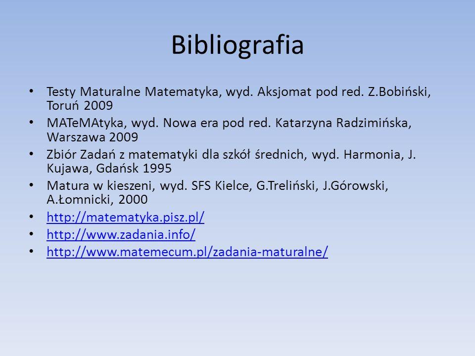 Bibliografia Testy Maturalne Matematyka, wyd. Aksjomat pod red. Z.Bobiński, Toruń 2009 MATeMAtyka, wyd. Nowa era pod red. Katarzyna Radzimińska, Warsz