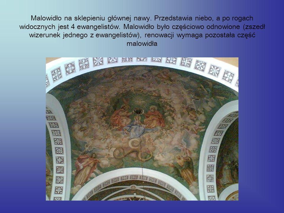 Malowidło na sklepieniu głównej nawy. Przedstawia niebo, a po rogach widocznych jest 4 ewangelistów. Malowidło było częściowo odnowione (zszedł wizeru