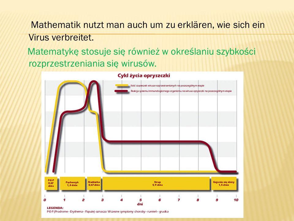 Mathematik nutzt man auch um zu erklären, wie sich ein Virus verbreitet. Matematykę stosuje się również w określaniu szybkości rozprzestrzeniania się