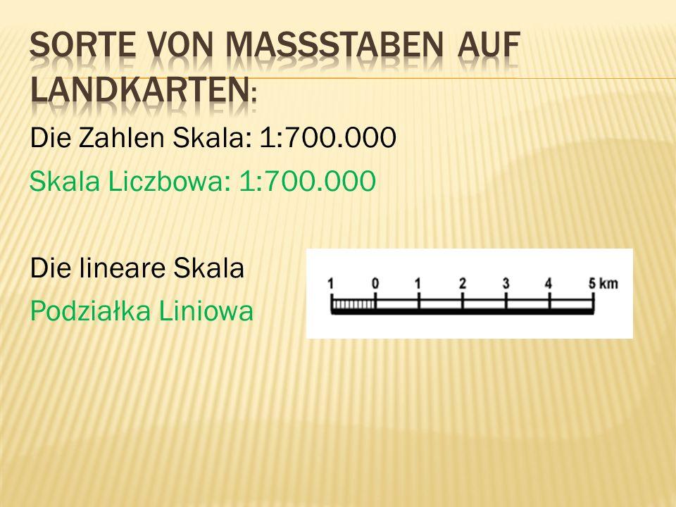 Die Zahlen Skala: 1:700.000 Skala Liczbowa: 1:700.000 Die lineare Skala Podziałka Liniowa