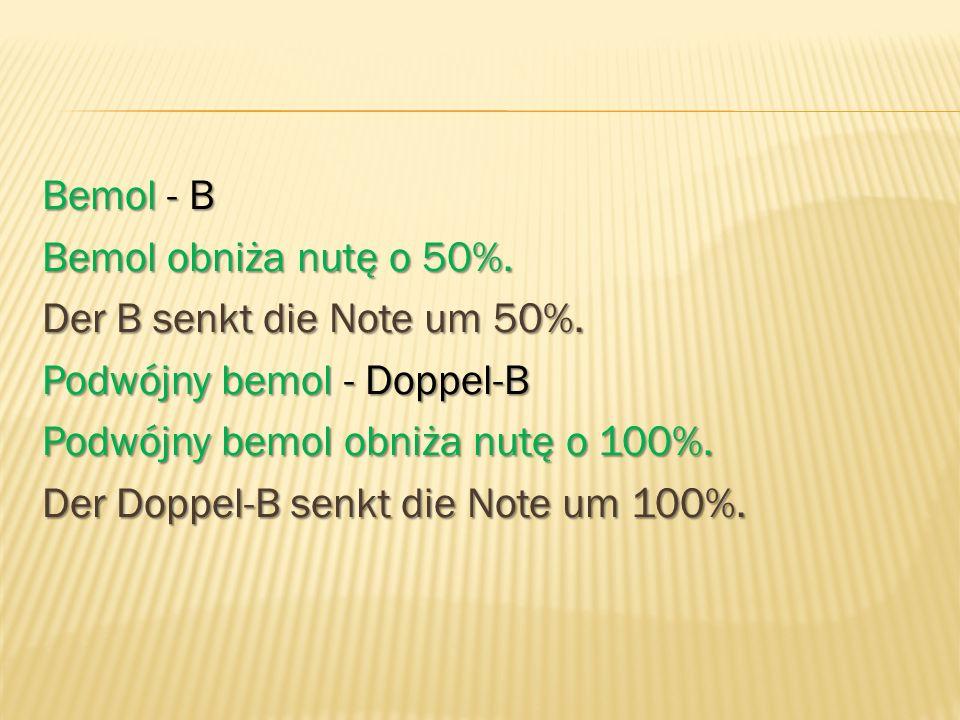 Bemol - B Bemol obniża nutę o 50%. Der B senkt die Note um 50%. Podwójny bemol - Doppel-B Podwójny bemol obniża nutę o 100%. Der Doppel-B senkt die No