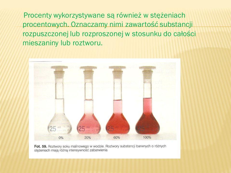 Procenty wykorzystywane są również w stężeniach procentowych. Oznaczamy nimi zawartość substancji rozpuszczonej lub rozproszonej w stosunku do całości