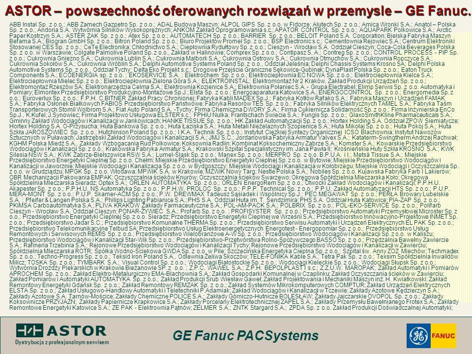 GE Fanuc PACSystems Dystrybucja z profesjonalnym serwisem ASTOR – powszechność oferowanych rozwiązań w przemysle – GE Fanuc. ABB Instal Sp. z o.o.; AB