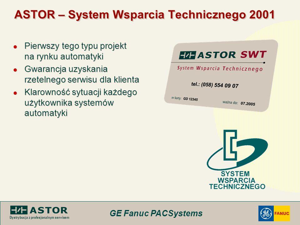 GE Fanuc PACSystems Dystrybucja z profesjonalnym serwisem ASTOR – System Wsparcia Technicznego 2001 Pierwszy tego typu projekt na rynku automatyki Gwa