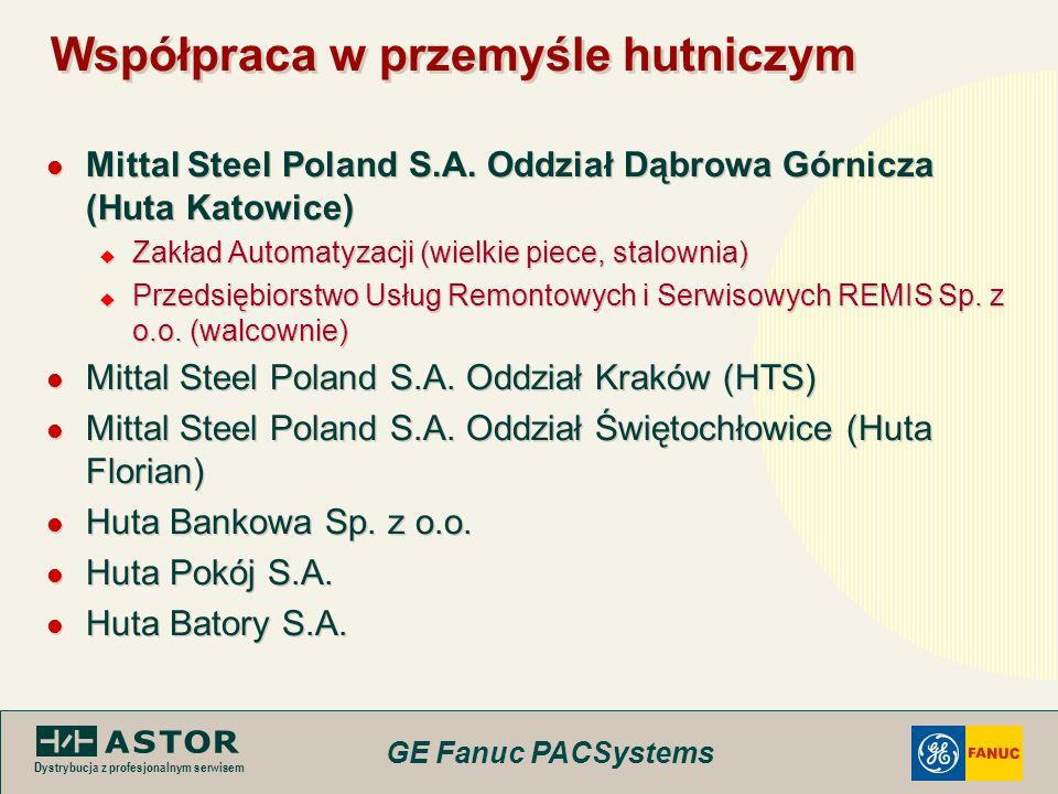 GE Fanuc PACSystems Dystrybucja z profesjonalnym serwisem Współpraca w przemyśle hutniczym Mittal Steel Poland S.A. Oddział Dąbrowa Górnicza (Huta Kat
