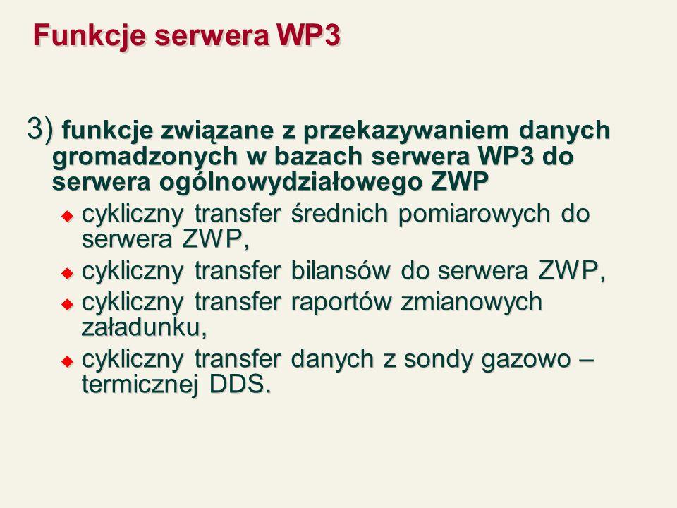 Funkcje serwera WP3 3) funkcje związane z przekazywaniem danych gromadzonych w bazach serwera WP3 do serwera ogólnowydziałowego ZWP cykliczny transfer