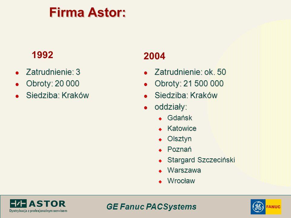 GE Fanuc PACSystems Dystrybucja z profesjonalnym serwisem Firma Astor: Zatrudnienie: 3 Obroty: 20 000 Siedziba: Kraków Zatrudnienie: 3 Obroty: 20 000