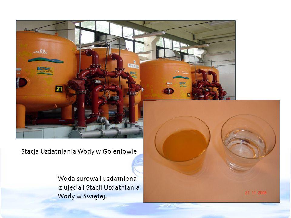 Stacja Uzdatniania Wody w Goleniowie Woda surowa i uzdatniona z ujęcia i Stacji Uzdatniania Wody w Świętej.