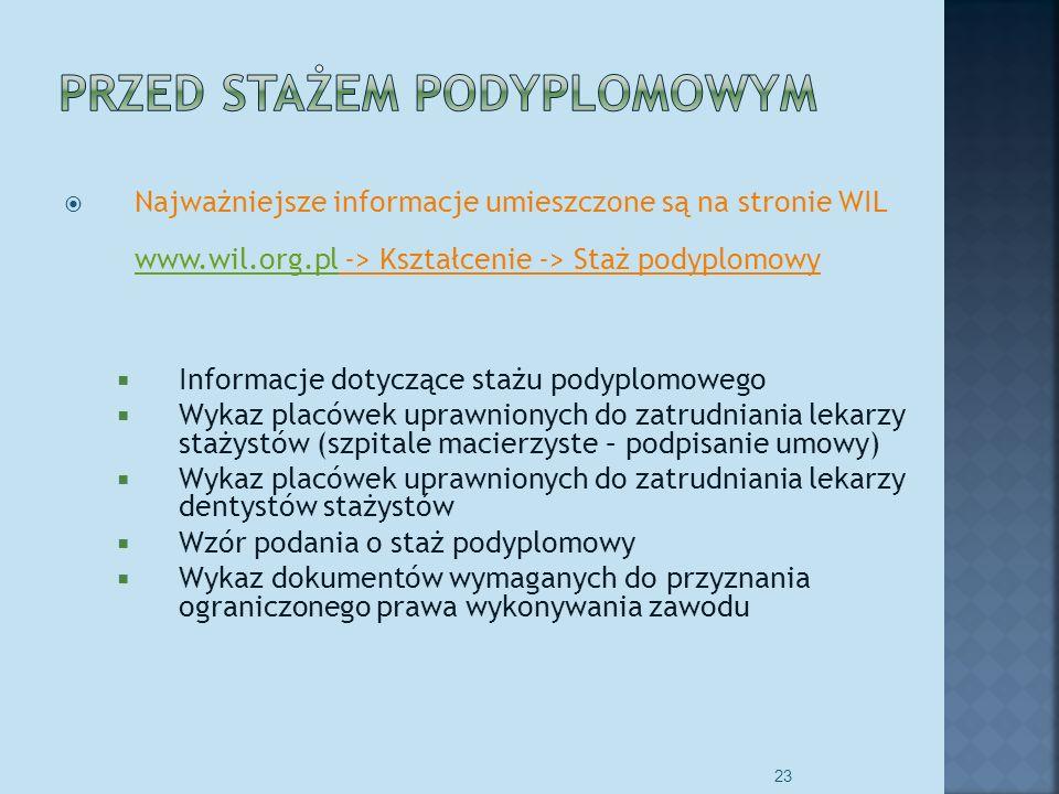 Najważniejsze informacje umieszczone są na stronie WIL www.wil.org.pl -> Kształcenie -> Staż podyplomowy www.wil.org.pl Informacje dotyczące stażu podyplomowego Wykaz placówek uprawnionych do zatrudniania lekarzy stażystów (szpitale macierzyste – podpisanie umowy) Wykaz placówek uprawnionych do zatrudniania lekarzy dentystów stażystów Wzór podania o staż podyplomowy Wykaz dokumentów wymaganych do przyznania ograniczonego prawa wykonywania zawodu 23