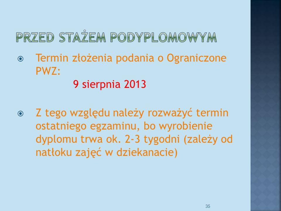 Termin złożenia podania o Ograniczone PWZ: 9 sierpnia 2013 Z tego względu należy rozważyć termin ostatniego egzaminu, bo wyrobienie dyplomu trwa ok.