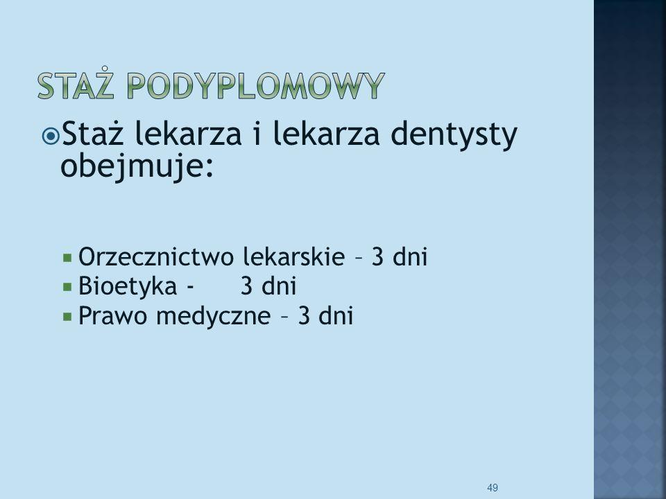 Staż lekarza i lekarza dentysty obejmuje: Orzecznictwo lekarskie – 3 dni Bioetyka - 3 dni Prawo medyczne – 3 dni 49