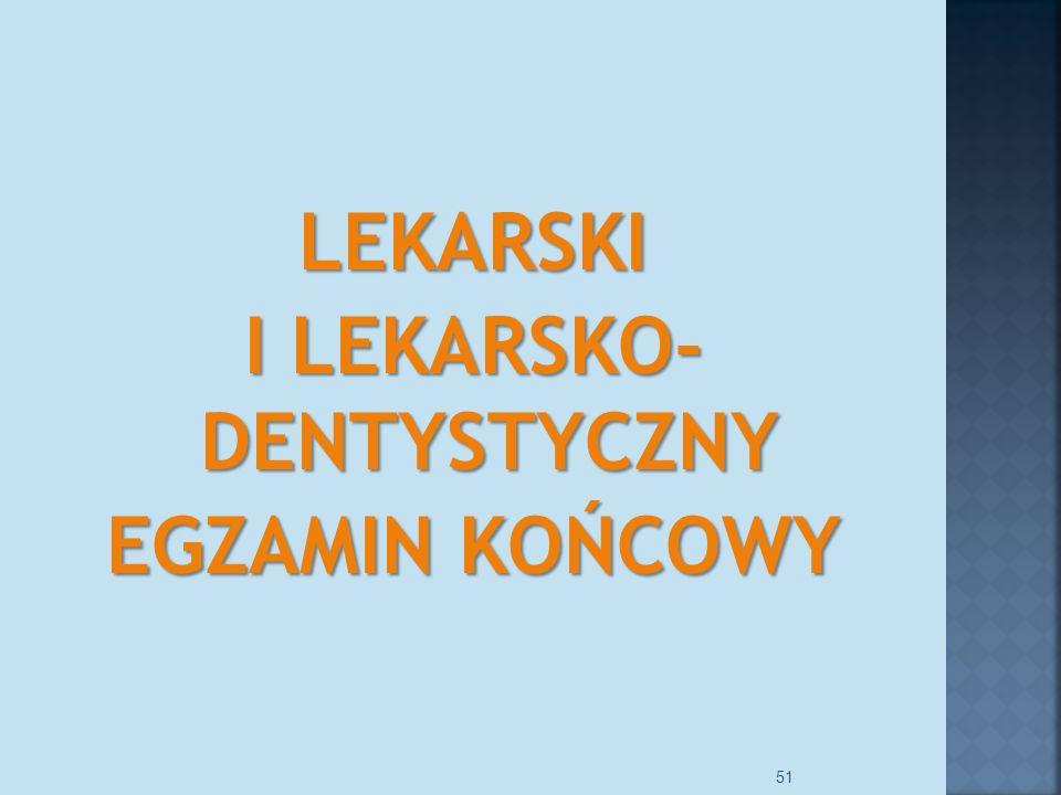 LEKARSKI I LEKARSKO- DENTYSTYCZNY EGZAMIN KOŃCOWY 51