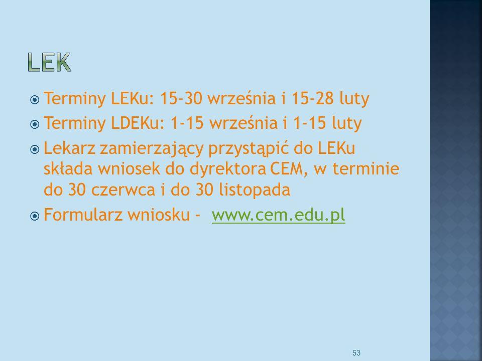 Terminy LEKu: 15-30 września i 15-28 luty Terminy LDEKu: 1-15 września i 1-15 luty Lekarz zamierzający przystąpić do LEKu składa wniosek do dyrektora CEM, w terminie do 30 czerwca i do 30 listopada Formularz wniosku - www.cem.edu.plwww.cem.edu.pl 53