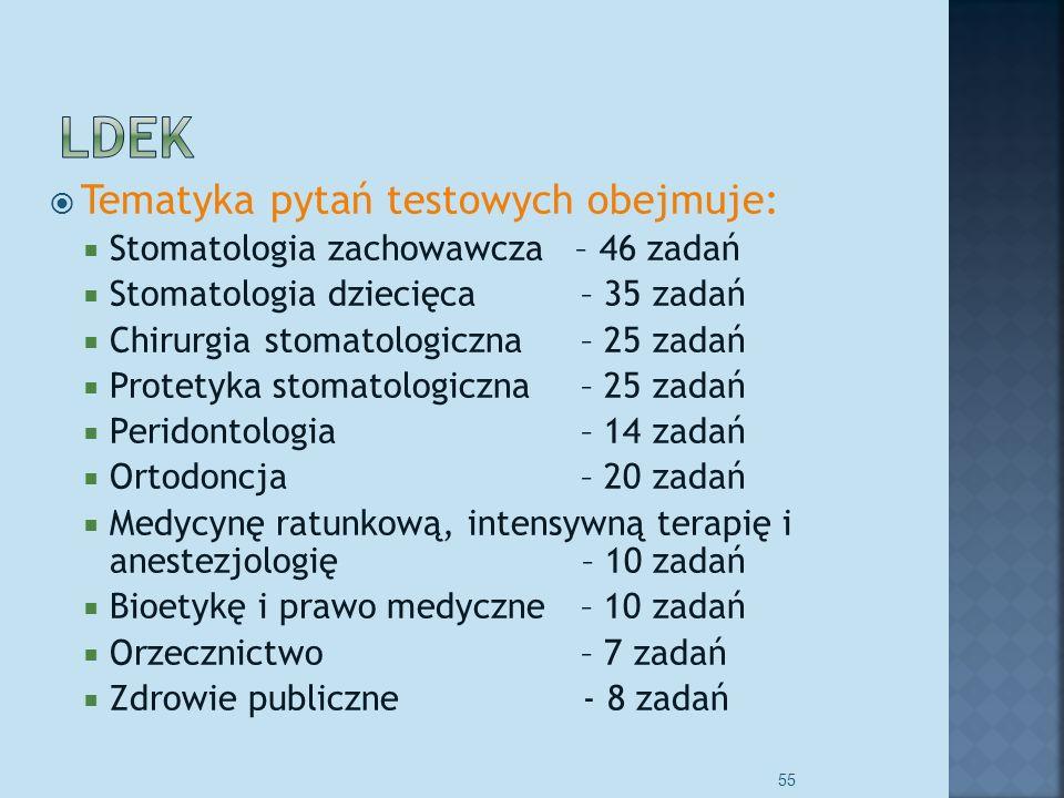 Tematyka pytań testowych obejmuje: Stomatologia zachowawcza – 46 zadań Stomatologia dziecięca– 35 zadań Chirurgia stomatologiczna– 25 zadań Protetyka stomatologiczna– 25 zadań Peridontologia – 14 zadań Ortodoncja – 20 zadań Medycynę ratunkową, intensywną terapię i anestezjologię – 10 zadań Bioetykę i prawo medyczne – 10 zadań Orzecznictwo – 7 zadań Zdrowie publiczne - 8 zadań 55