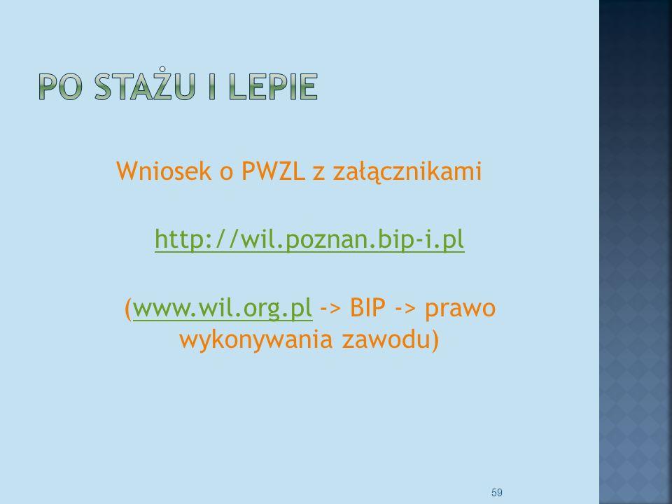 Wniosek o PWZL z załącznikami http://wil.poznan.bip-i.pl (www.wil.org.pl -> BIP -> prawo wykonywania zawodu)www.wil.org.pl 59