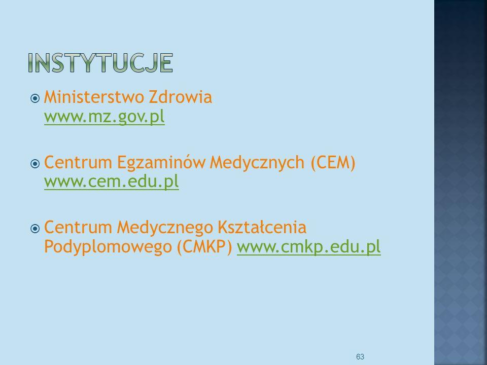 Ministerstwo Zdrowia www.mz.gov.pl www.mz.gov.pl Centrum Egzaminów Medycznych (CEM) www.cem.edu.pl www.cem.edu.pl Centrum Medycznego Kształcenia Podyplomowego (CMKP) www.cmkp.edu.plwww.cmkp.edu.pl 63
