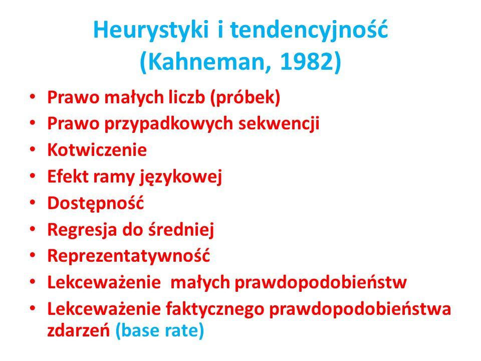Heurystyki i tendencyjność (Kahneman, 1982) Prawo małych liczb (próbek) Prawo przypadkowych sekwencji Kotwiczenie Efekt ramy językowej Dostępność Regr