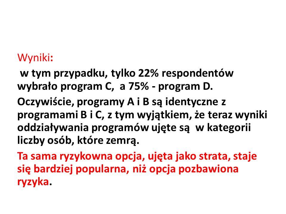 Wyniki: w tym przypadku, tylko 22% respondentów wybrało program C, a 75% - program D. Oczywiście, programy A i B są identyczne z programami B i C, z t