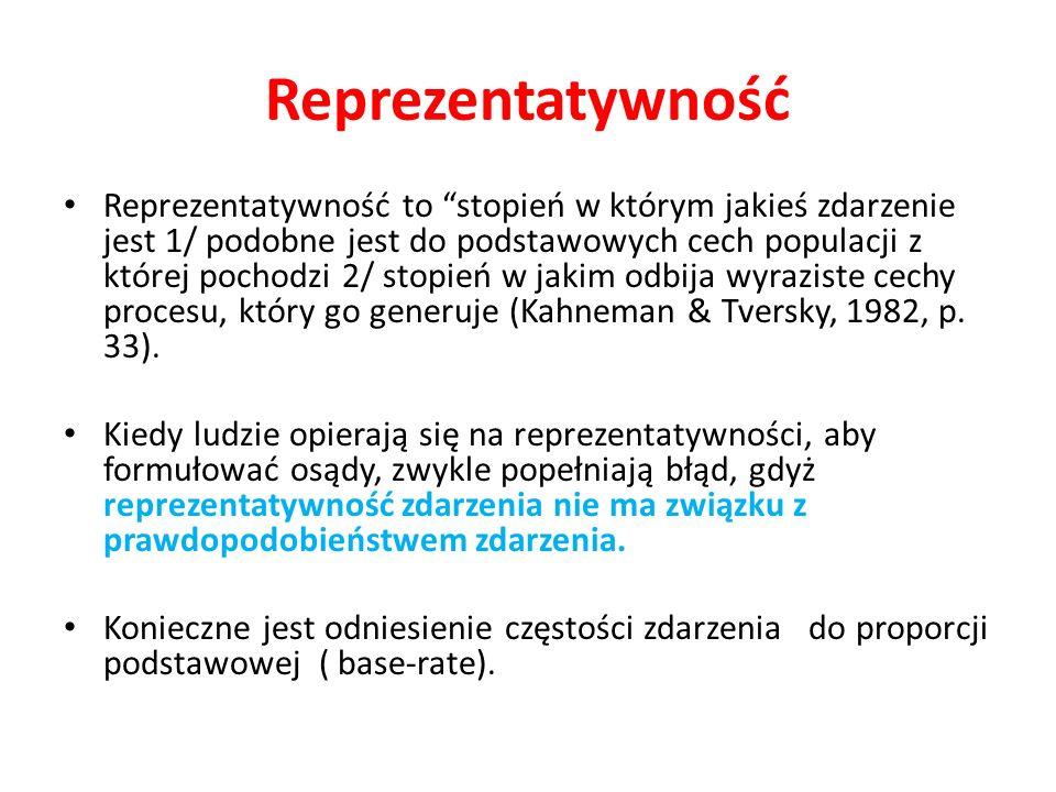 Reprezentatywność Reprezentatywność to stopień w którym jakieś zdarzenie jest 1/ podobne jest do podstawowych cech populacji z której pochodzi 2/ stop