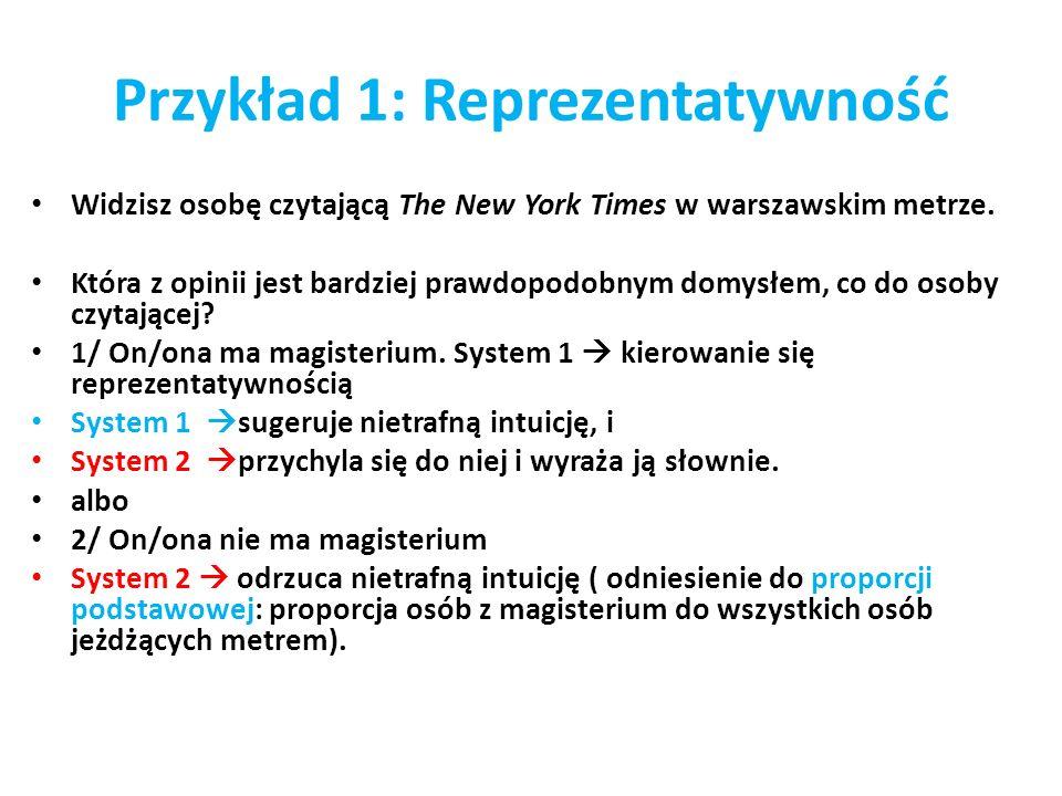 Przykład 1: Reprezentatywność Widzisz osobę czytającą The New York Times w warszawskim metrze. Która z opinii jest bardziej prawdopodobnym domysłem, c