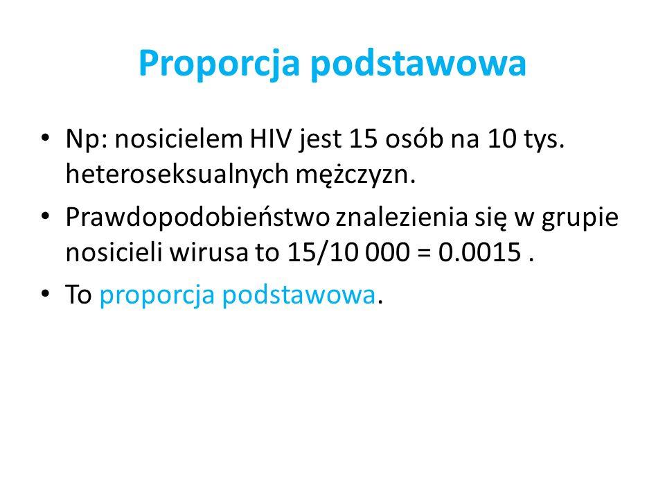 Proporcja podstawowa Np: nosicielem HIV jest 15 osób na 10 tys. heteroseksualnych mężczyzn. Prawdopodobieństwo znalezienia się w grupie nosicieli wiru