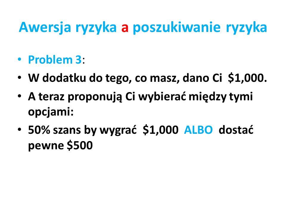 Awersja ryzyka a poszukiwanie ryzyka Problem 3: W dodatku do tego, co masz, dano Ci $1,000. A teraz proponują Ci wybierać między tymi opcjami: 50% sza