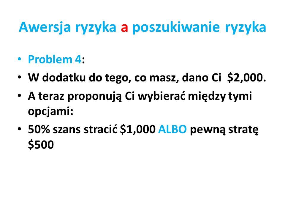 Awersja ryzyka a poszukiwanie ryzyka Problem 4: W dodatku do tego, co masz, dano Ci $2,000. A teraz proponują Ci wybierać między tymi opcjami: 50% sza
