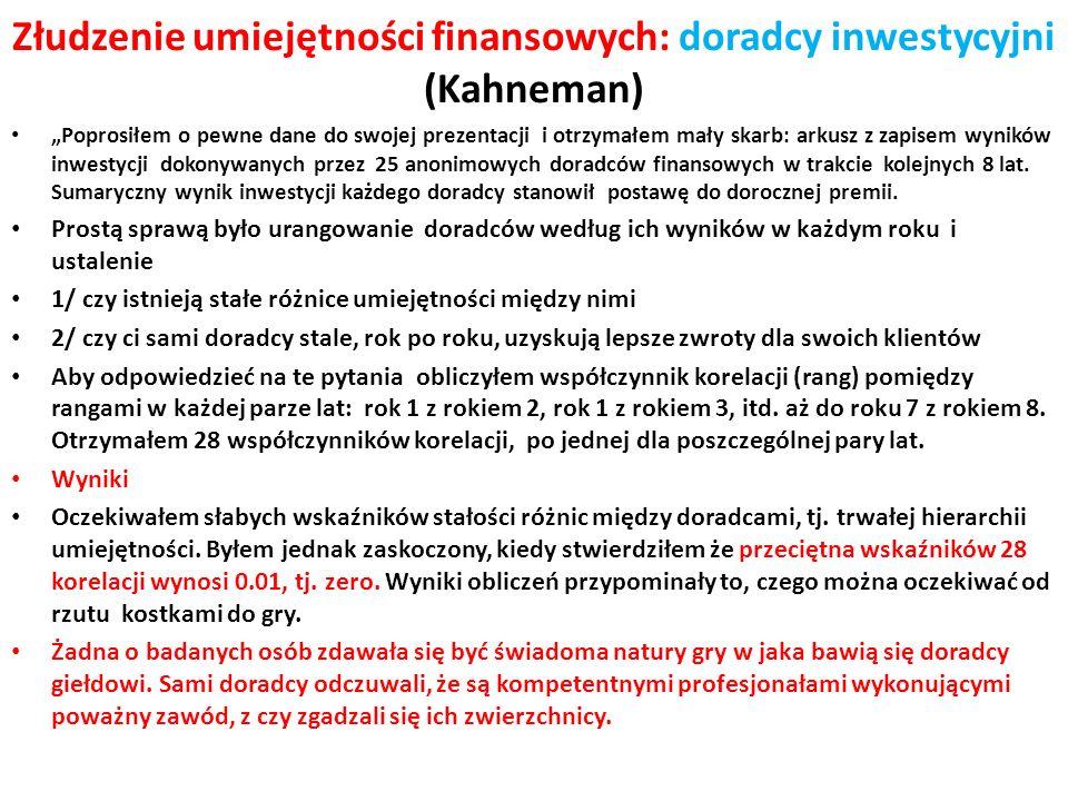 Złudzenie umiejętności finansowych: doradcy inwestycyjni (Kahneman) Poprosiłem o pewne dane do swojej prezentacji i otrzymałem mały skarb: arkusz z za