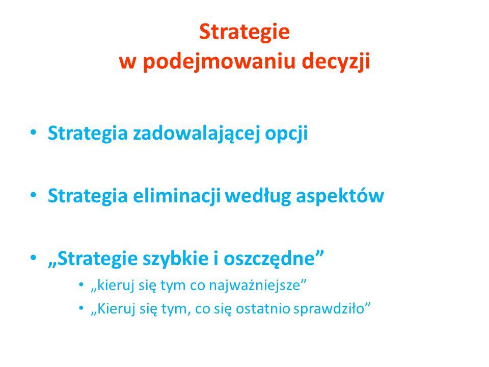 Strategie w podejmowaniu decyzji Strategia zadowalającej opcji Strategia eliminacji według aspektów Strategie szybkie i oszczędne kieruj się tym co na