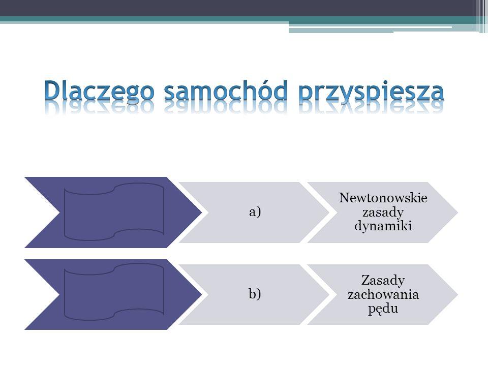 a) Newtonowskie zasady dynamiki b) Zasady zachowania pędu