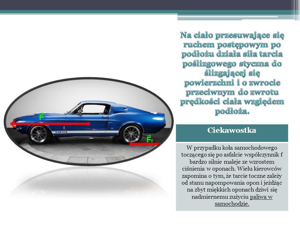 Ciekawostka W przypadku koła samochodowego toczącego się po asfalcie współczynnik f bardzo silnie maleje ze wzrostem ciśnienia w oponach. Wielu kierow