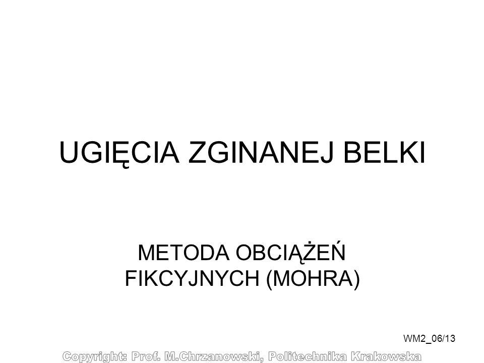 WM2_06/13 UGIĘCIA ZGINANEJ BELKI METODA OBCIĄŻEŃ FIKCYJNYCH (MOHRA)