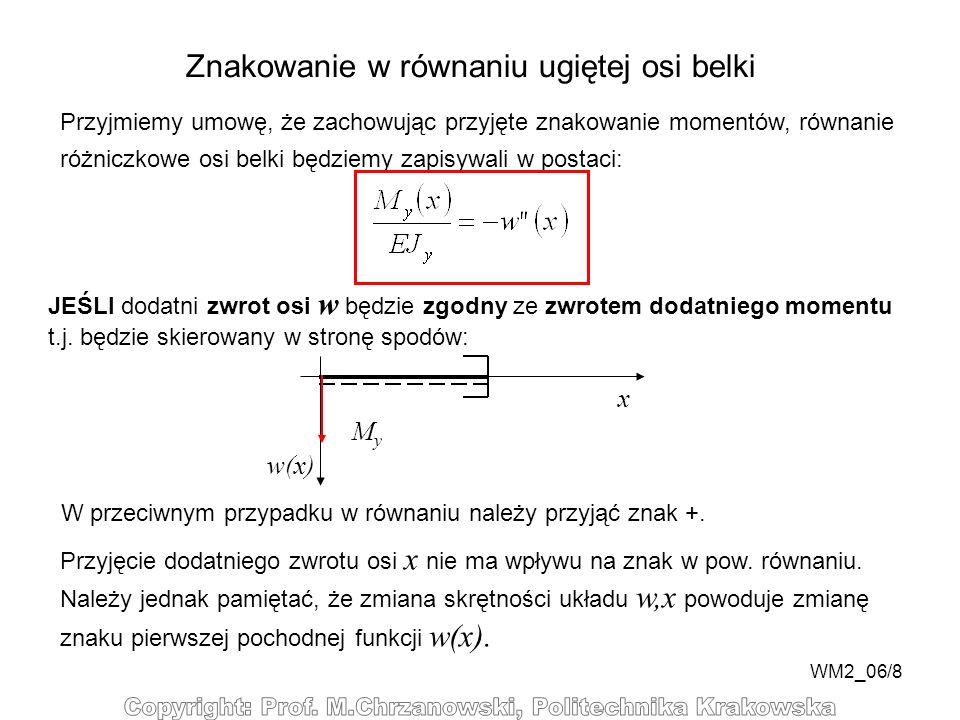 WM2_06/8 Znakowanie w równaniu ugiętej osi belki Przyjmiemy umowę, że zachowując przyjęte znakowanie momentów, równanie różniczkowe osi belki będziemy