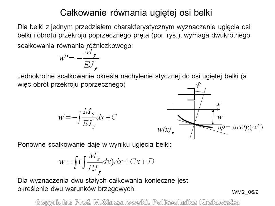 WM2_06/9 Całkowanie równania ugiętej osi belki Dla belki z jednym przedziałem charakterystycznym wyznaczenie ugięcia osi belki i obrotu przekroju popr