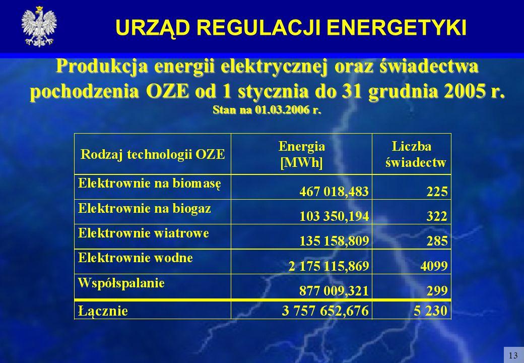 URZĄD REGULACJI ENERGETYKI 13 Produkcja energii elektrycznej oraz świadectwa pochodzenia OZE od 1 stycznia do 31 grudnia 2005 r. Stan na 01.03.2006 r.