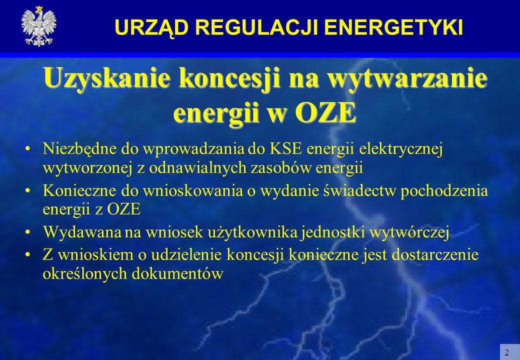 URZĄD REGULACJI ENERGETYKI 2 Uzyskanie koncesji na wytwarzanie energii w OZE Niezbędne do wprowadzania do KSE energii elektrycznej wytworzonej z odnaw
