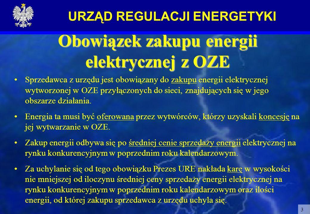 URZĄD REGULACJI ENERGETYKI 3 Obowiązek zakupu energii elektrycznej z OZE Sprzedawca z urzędu jest obowiązany do zakupu energii elektrycznej wytworzone
