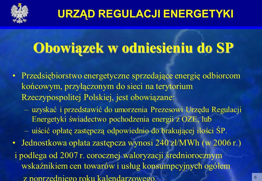 URZĄD REGULACJI ENERGETYKI 6 Obowiązek w odniesieniu do SP Przedsiębiorstwo energetyczne sprzedające energię odbiorcom końcowym, przyłączonym do sieci